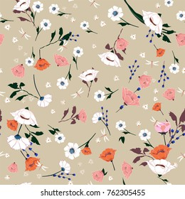 Seamless Pattern wind blow blooming flowers,  Isolated on beige color. Botanical Floral Decoration Texture. Vintage Style Design for Fabric Print, Wallpaper Background.