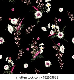 Seamless Pattern wind blow flowers,  Isolated on black color. Botanical Floral Decoration Texture. Vintage Style Design for Fabric Print, Wallpaper Background.