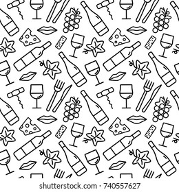 Seamless pattern with wine and food icons. Background for cards, decoration, menus, web, banners and designs related to wine. Vector illustration.