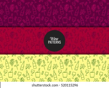 Seamless pattern with wine icons. Background for cards, decoration, menus, web, banners and designs related to wine. Vector illustration.