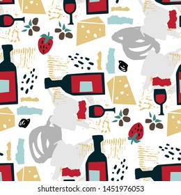 Seamless pattern with wine, olives, strawberries, cheese and abstract lines and shapes. Hand drawn vector illustration in paper cut style for food menu design