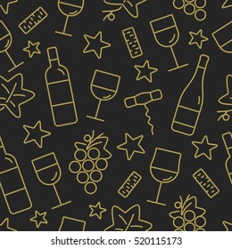 Seamless pattern with wine and star icons. Background for Christmas cards, decoration, menus, web, banners and designs related to wine and holidays. Vector illustration.