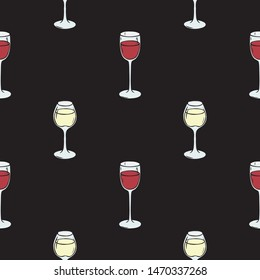 Seamless Pattern with Wineglasses with Red and White Wine on Black Background