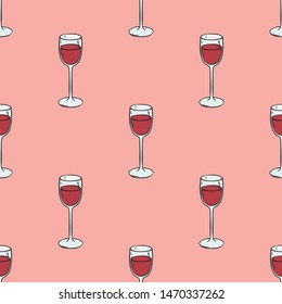 Seamless Pattern with Wineglasses with Red Wine on Pink Background