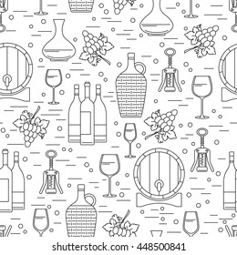 Seamless pattern with wine-making design element on white background. Can be used for wallpaper, poster design, wrapping paper, surface texture, web backgrounds, print on textile and covers