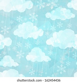 Seamless pattern with winter clouds and snow. Vector, EPS 10