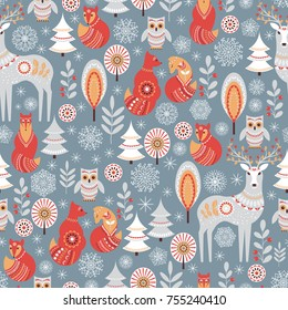 Seamless pattern with winter forest, deer, owl and Fox. The Scandinavian style. Vector illustration.