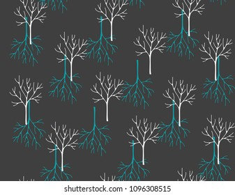 Seamless pattern with winter forest. Vector illustration of plants.