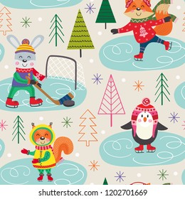 seamless pattern winter fun with animals on skating - vector illustration, eps