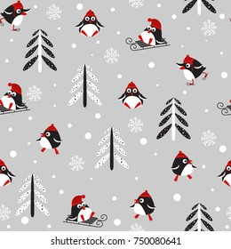 Seamless pattern with Winter Holidays cute vector penguins in a red hat on a light gray background. Vector illustration.