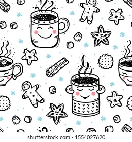 Seamless Pattern of Winter Hot Drinks and Sweets. Cozy Cute Mugs with Beverages Mulled Wine, Coffee or Tea, Cocoa and Gingerbread Cookies, Marshmallow. Winter Holidays, Christmas and New Year. Vector