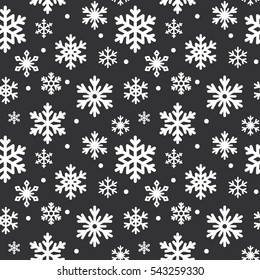 Seamless pattern of winter snowflakes, vector background. Repeated texture for surface, wrapping paper, white on black.