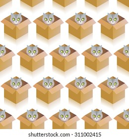 Seamless pattern wit funny cat in the box.