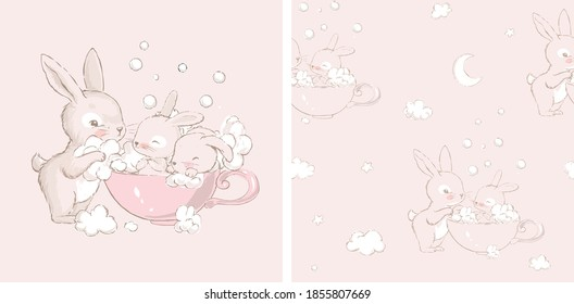 Seamless pattern with. Cute little hares with mom. Cute white baby bunnies take baths in a cup.