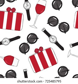 Seamless pattern of women accessories, lipstick, glasses and bags.
