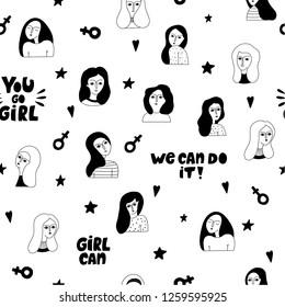 Seamless pattern with women faces.  Feminism. Sisterhood. Vector templates for social media, website.