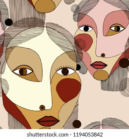 Seamless pattern with women portraits in modern abstract style. Hand drawn vector texture for your contemporary fashion design.