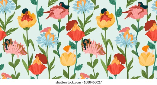 Seamless pattern with women sitting in flowers. Concept for International Women s Day and other use. Vector template