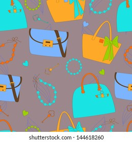Seamless pattern with women's bags and accessories in blue color