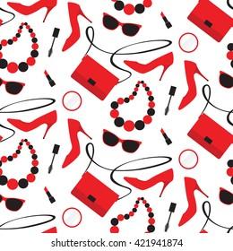 Seamless pattern with women's fashion accessories: handbag, shoe, lipstick, mascara, sunglasses
