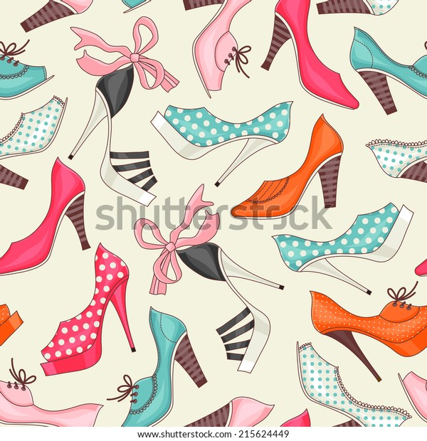 Seamless pattern with women's shoes.