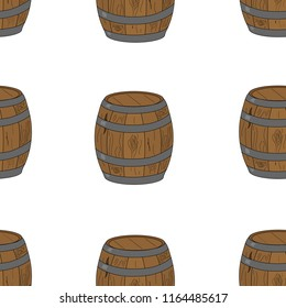 Seamless pattern wooden barrel. Pirate barrel of rum. Hand drawing in cartoon style. Vector illustration for children. Alcohol, drink container wallpaper.