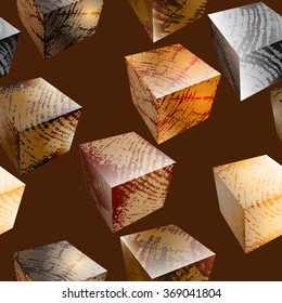 Seamless pattern with wooden cubes on dark background.