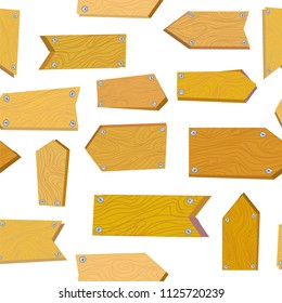 Seamless pattern with wooden signs, vector graphic illustration