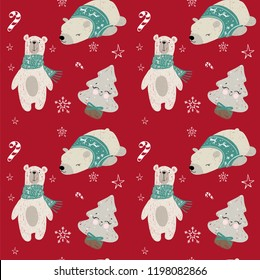 Seamless pattern with woodland animals. Vector polar bears.Good for christmas cards, invitations, wallpaper, banners, kindergarten, baby shower, children room decoration.