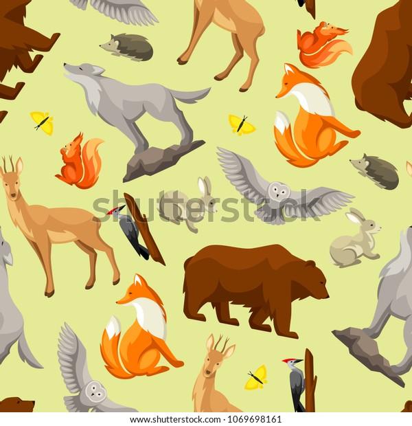 Seamless Pattern Woodland Forest Animals Birds   Animals/Wildlife ...