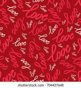 Seamless pattern with word love-vector illustration. The words red and white on a bright background.