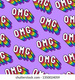 """Seamless pattern with word patches """"OMG"""" (""""Oh my god!"""") on purple background. Vector wallpaper. Quirky cartoon comic style of 80-90s."""