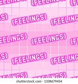 "Seamless pattern with ""Feelings"" word patches. Vector wallpaper in pastel goth style. Pink gradient background."