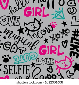 Seamless pattern with words, a cat, a diamond, a heart, a star. For textiles, clothing, fabrics, wrapping paper, for girls, web, pastel, and other designs