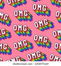 "Seamless pattern with words ""OMG"" (""Oh my god!"") on pink background. Text patches vector wallpaper. Quirky cartoon comic style of 80-90s."