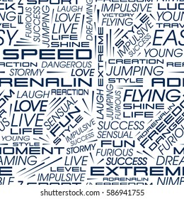 Seamless pattern of words. Vector pattern in the style of racing cars with the words speed, extreme, adrenaline and others.