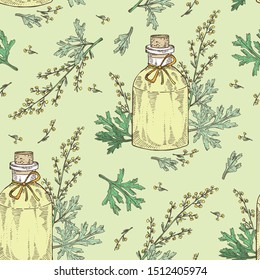 Seamless pattern with wormwood and bottle of wormwood essential oil. Cosmetic, perfumery and medical plant. Vector hand drawn illustration.