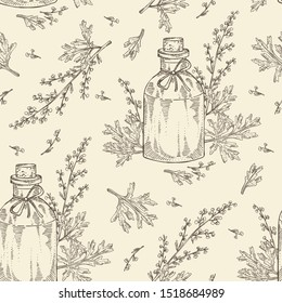 Seamless pattern wormwood and bottle of wormwood essential oil. Cosmetic, perfumery and medical plant. Vector hand drawn illustration.