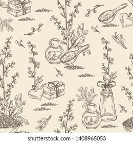 Seamless pattern with wormwood: wormwood branch, wormwood flowers, soap and bath salt . Cosmetic and medical plant. Vector hand drawn illustration.