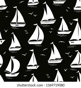 Seamless pattern with yacht silhouette on waves on black background