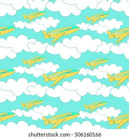 seamless pattern with yellow airplane with clouds against the sky vector illustration