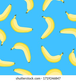 Seamless pattern with yellow banana. Blue background. Flat cartoon style. Tropical fruit. Healthy food. Vegan, vegetarian lifestyle. Summer print. For postcards, wallpaper, textile and wrapping paper