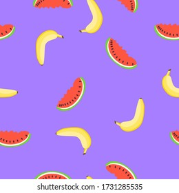 Seamless pattern with yellow banana, red watermelon. Violet background. Flat cartoon style. Summer fruits. Healthy food. Vegan lifestyle. Health care. For postcards, wallpaper, textile, wrapping paper