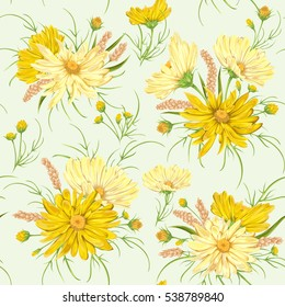 Seamless pattern with yellow chamomile flowers and millet. Rustic floral design for wedding invitations and birthday cards. Vintage vector botanical illustration in watercolor style.