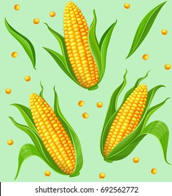Seamless pattern with yellow corncobs and green leaves. Ripe corn vegetables. Vector illustration.