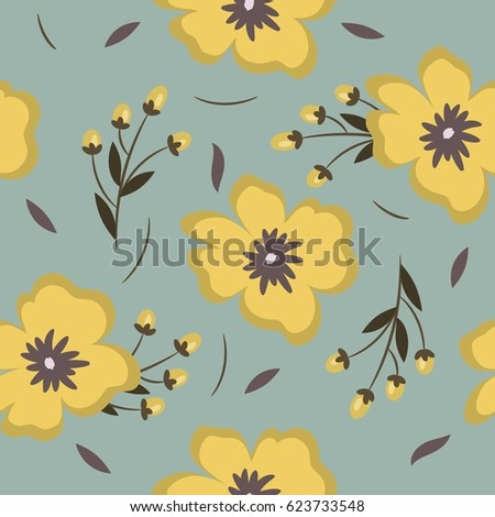 Seamless pattern with yellow flowers, twigs and buds on a gray background. It can be used for packing of gifts, tiles fabrics backgrounds.