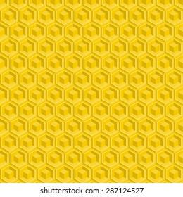 Seamless pattern of yellow glossy honeycombs. Hexagon. Geometric repeating vector.