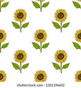Seamless pattern with yellow hand drawn sunflowers. Vector illustration