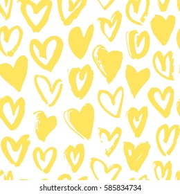 Seamless pattern with yellow hearts. Hand drawn vector illustration. Decorative elements for design. Creative art work