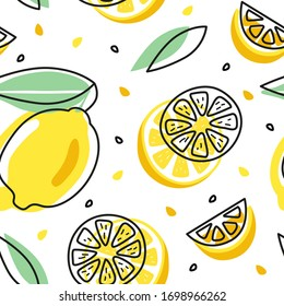 Seamless pattern with yellow lemons on the white background. Summer illustration. Design for posters, cards, textile, brochures, flyers. Vector. Isolated.